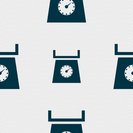 grams: kitchen scales icon sign. Seamless abstract background with geometric shapes. illustration
