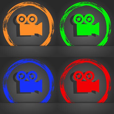 journalistic: video camera icon symbol. Fashionable modern style. In the orange, green, blue, green design. illustration