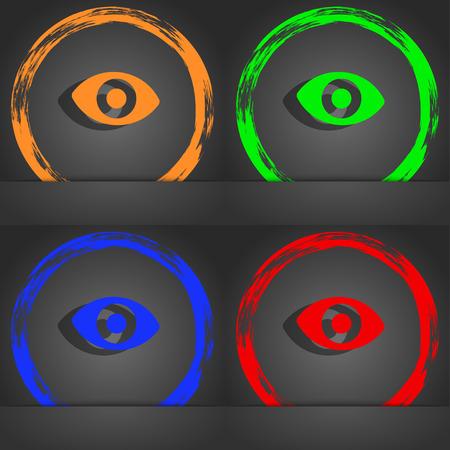 the sixth: sixth sense, the eye icon symbol. Fashionable modern style. In the orange, green, blue, green design. illustration