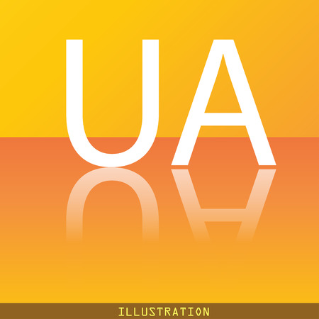 slavonic: Ukraine icon symbol Flat modern web design with reflection and space for your text. illustration. Raster version