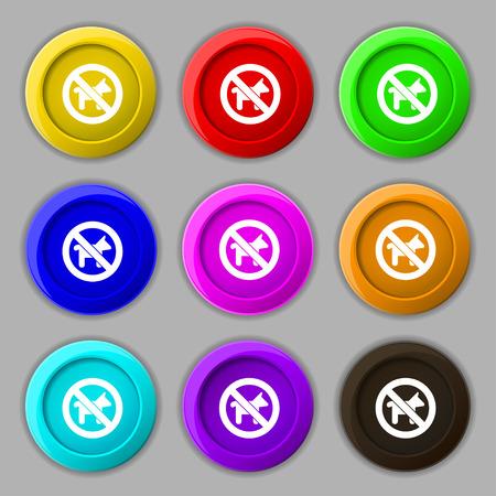 dog walking: dog walking is prohibited icon sign. symbol on nine round colourful buttons. illustration