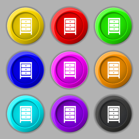 nightstand: Nightstand icon sign. symbol on nine round colourful buttons. illustration