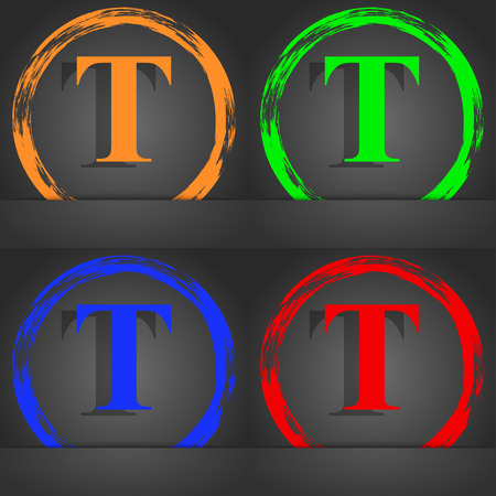 Text edit icon sign. Fashionable modern style. In the orange, green, blue, red design. illustration