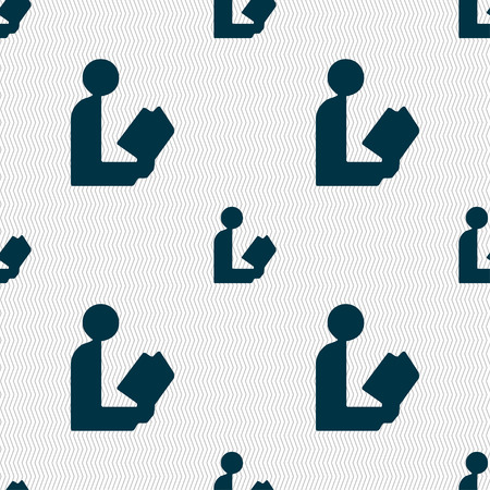 epublishing: read a book icon sign. Seamless pattern with geometric texture. illustration