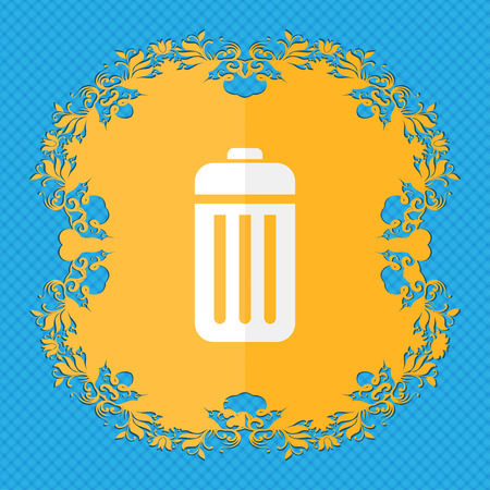 local supply: The trash. Floral flat design on a blue abstract background with place for your text. illustration
