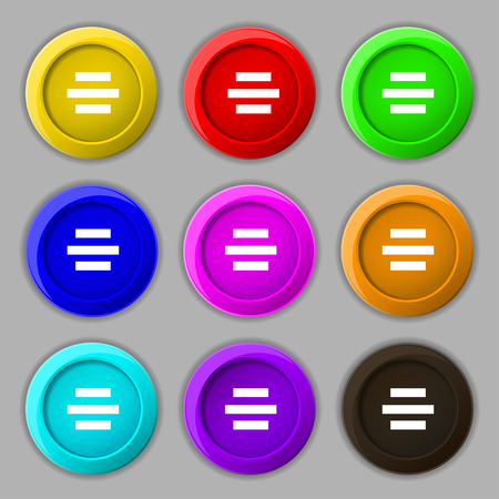 alignment: Center alignment icon sign. symbol on nine round colourful buttons. illustration