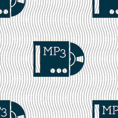 crystal button: mp3 player icon sign. Seamless pattern with geometric texture. illustration Stock Photo