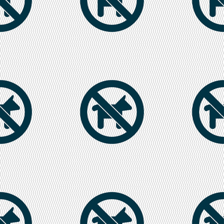 dog walking: dog walking is prohibited icon sign. Seamless pattern with geometric texture. illustration