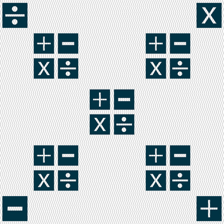 multiplicacion: Multiplicaci�n, divisi�n, m�s, menos icon s�mbolo de matem�ticas matem�ticas. Seamless abstracto con formas geom�tricas. ilustraci�n Foto de archivo