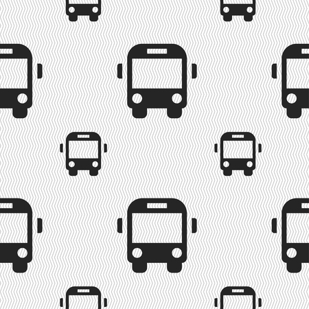 schoolbus: Bus icon sign. Seamless pattern with geometric texture. illustration Stock Photo