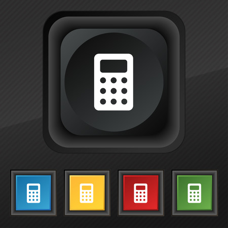 calc: Calculator, Bookkeeping icon symbol. Set of five colorful, stylish buttons on black texture for your design. illustration