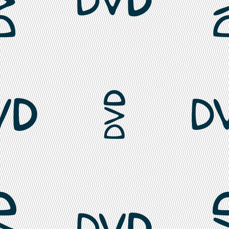 storage data product: dvd icon sign. Seamless pattern with geometric texture. illustration Stock Photo