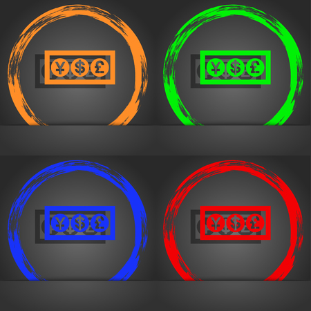 currency converter: Cash currency icon symbol. Fashionable modern style. In the orange, green, blue, green design. illustration