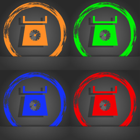 grams: kitchen scales icon sign. Fashionable modern style. In the orange, green, blue, red design. illustration