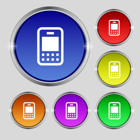 telecommunications: Mobile telecommunications technology icon sign. Round symbol on bright colourful buttons. illustration Stock Photo
