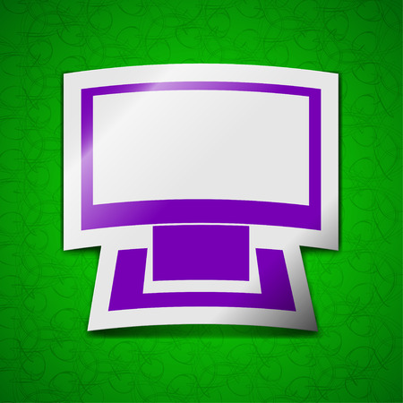 widescreen: Computer widescreen icon sign. Symbol chic colored sticky label on green background. illustration