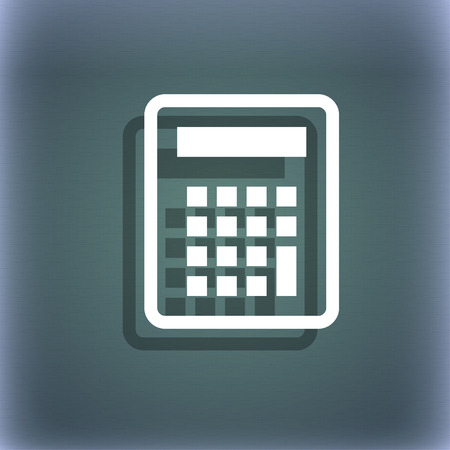 bluegreen: Calculator icon symbol on the blue-green abstract background with shadow and space for your text. illustration