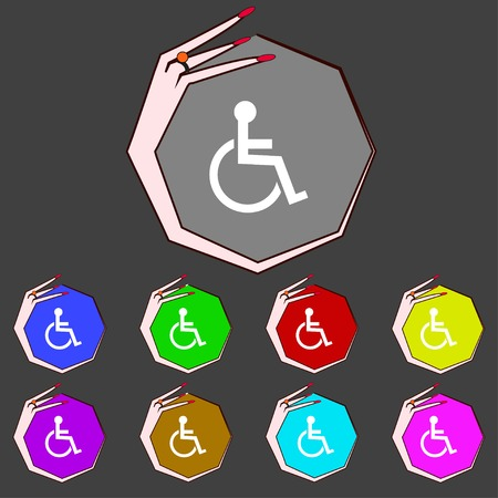 handicapped: Disabled sign icon. Human on wheelchair symbol. Handicapped invalid sign. Set colourful buttons illustration Stock Photo