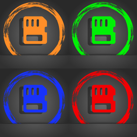 memory card: compact memory card icon symbol. Fashionable modern style. In the orange, green, blue, green design. illustration Stock Photo