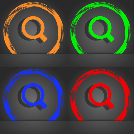 interface menu tool: Magnifier glass icon symbol. Fashionable modern style. In the orange, green, blue, green design. illustration