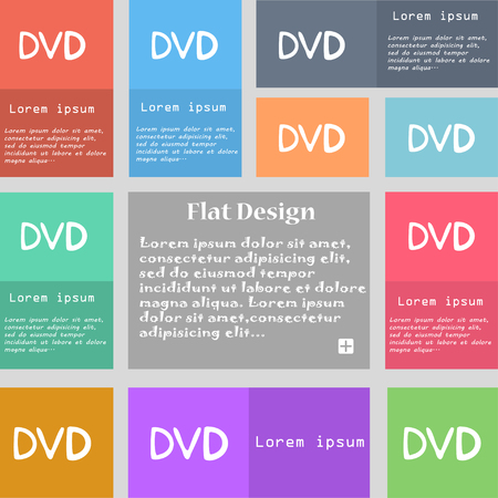 storage data product: dvd icon sign. Set of multicolored buttons with space for text. illustration Stock Photo