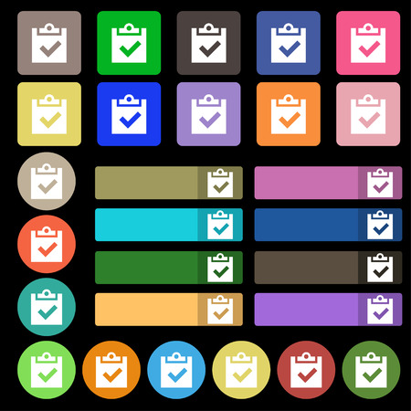 tik: Check mark, tik icon sign. Set from twenty seven multicolored flat buttons. illustration