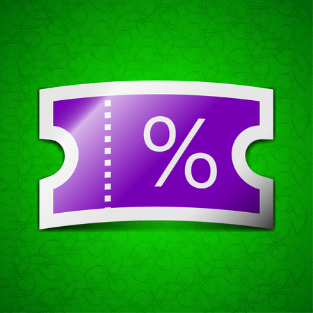 permission: ticket discount icon sign. Symbol chic colored sticky label on green background. illustration Stock Photo
