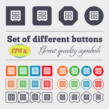 joinery: Nightstand icon sign Big set of colorful, diverse, high-quality buttons. illustration