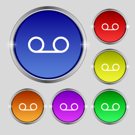 audio cassette: audio cassette icon sign. Round symbol on bright colourful buttons. illustration