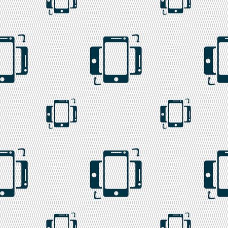 synchronization: Synchronization sign icon. smartphones sync symbol. Data exchange. Seamless pattern with geometric texture. illustration