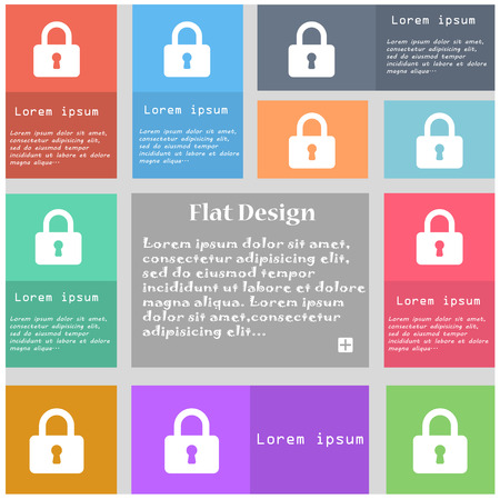 pad lock: Pad Lock icon sign. Set of multicolored buttons with space for text. illustration Stock Photo