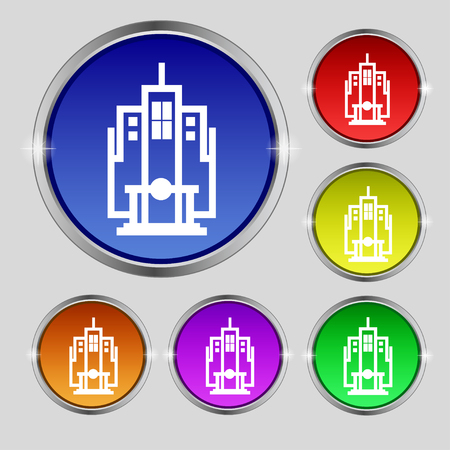 headquarters: skyscraper icon sign. Round symbol on bright colourful buttons. illustration