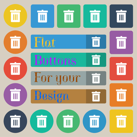 utilization: Recycle bin, Reuse or reduce icon sign. Set of twenty colored flat, round, square and rectangular buttons. illustration