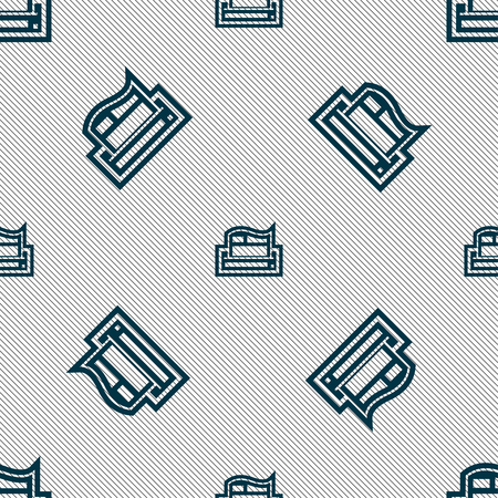 Newspaper icon sign. Seamless pattern with geometric texture. illustration