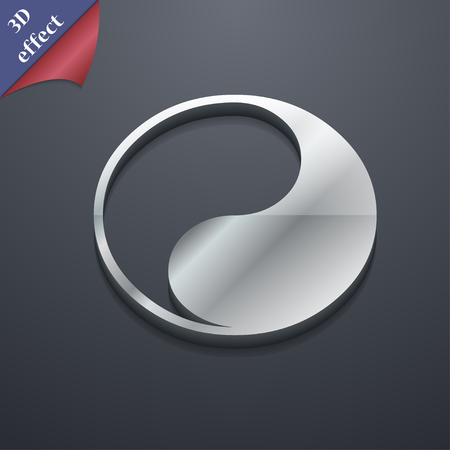 karma concept: Yin Yang icon symbol. 3D style. Trendy, modern design with space for your text illustration. Rastrized copy