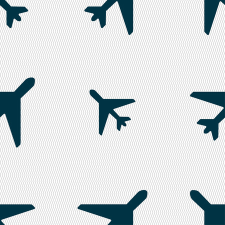 fender: airplane icon sign. Seamless pattern with geometric texture. illustration