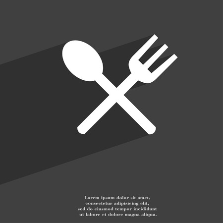 eat: Fork and spoon crosswise, Cutlery, Eat icon symbol Flat modern web design with long shadow and space for your text. illustration