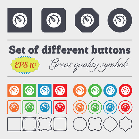 time drive: speed, speedometer icon sign. Big set of colorful, diverse, high-quality buttons. illustration