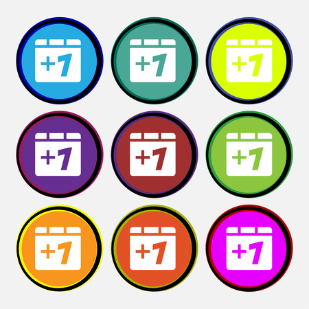 append: Plus one, Add one icon sign. Nine multi-colored round buttons. illustration