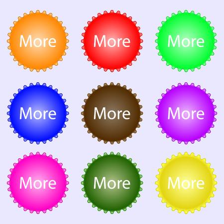details: More sign icon. Details symbol. Website navigation. A set of nine different colored labels. illustration