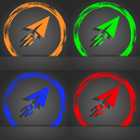 paper airplane: Paper airplane icon symbol. Fashionable modern style. In the orange, green, blue, green design. illustration Stock Photo