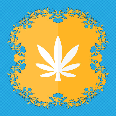 cannabinol: Cannabis leaf . Floral flat design on a blue abstract background with place for your text. illustration