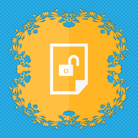locked icon: File locked icon sign. Floral flat design on a blue abstract background with place for your text. illustration