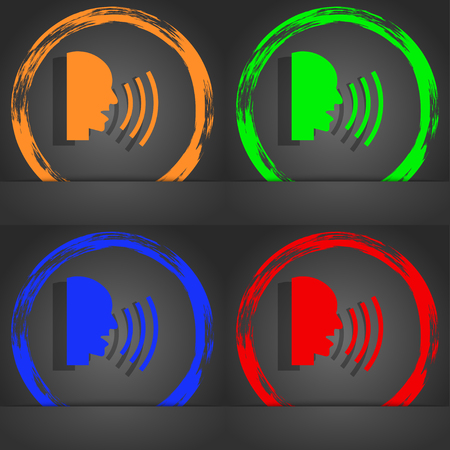 loudly: Talking Flat modern web icon. Fashionable modern style. In the orange, green, blue, red design. illustration