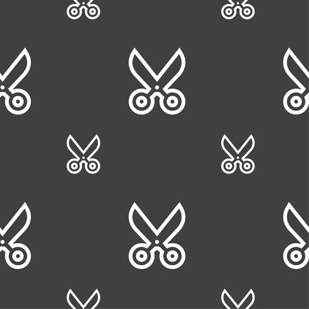snip: scissors icon sign. Seamless pattern on a gray background. illustration Stock Photo