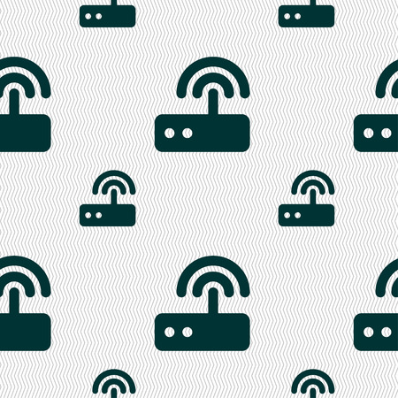 transmit: Wi fi router icon sign. Seamless pattern with geometric texture. illustration Stock Photo