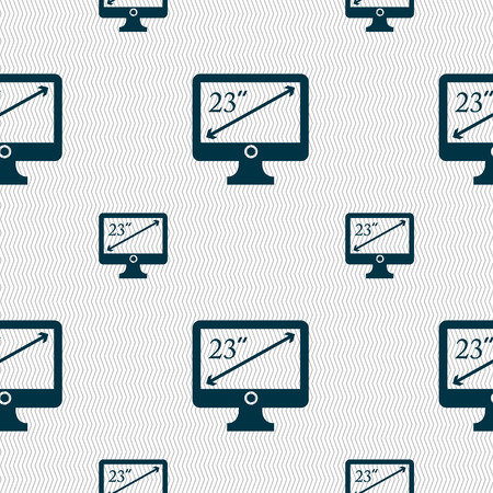 23: diagonal of the monitor 23 inches icon sign. Seamless pattern with geometric texture. illustration Stock Photo