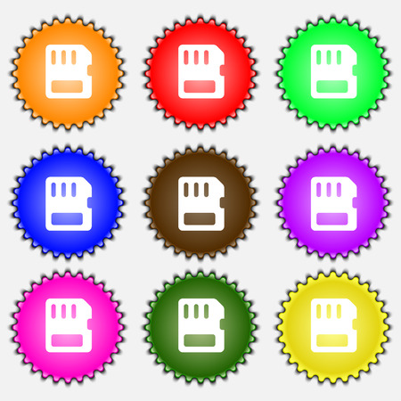 memory card: compact memory card icon sign. A set of nine different colored labels. illustration