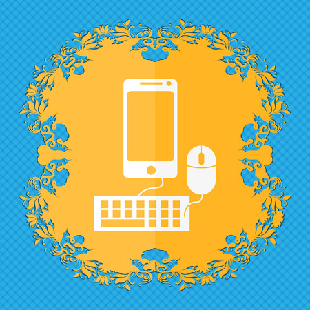 blue widescreen widescreen: smartphone widescreen monitor, keyboard, mouse sign icon. Floral flat design on a blue abstract background with place for your text. illustration