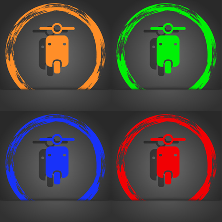 chrome man: motorcycle icon symbol. Fashionable modern style. In the orange, green, blue, green design. illustration